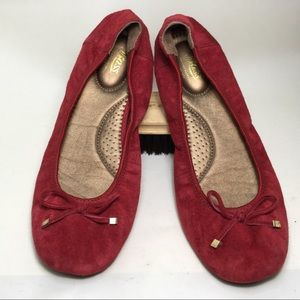 GH Bass ballet slippers red suede sz 9